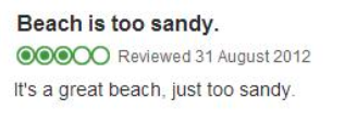 TripAdvisor review - Beach too sandy